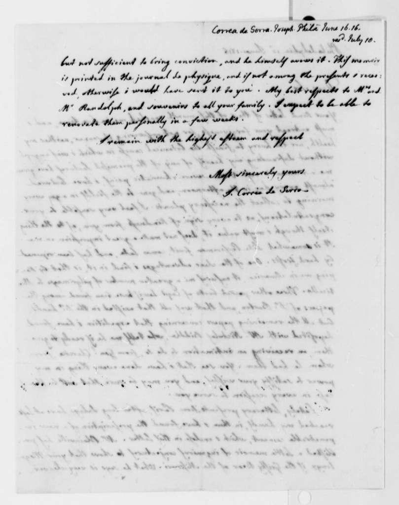 Jose Correa da Serra to Thomas Jefferson, June 16, 1816