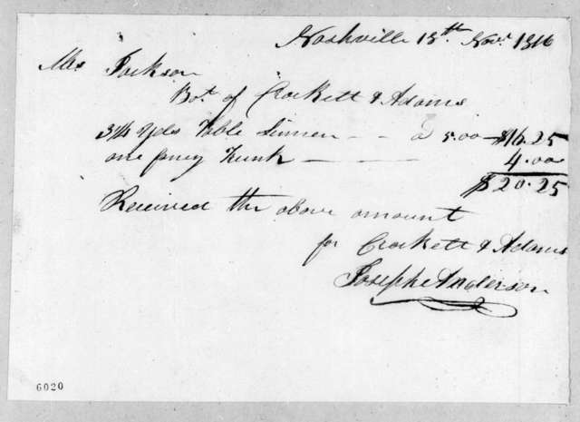 Joseph Anderson to Andrew Jackson, November 18, 1816