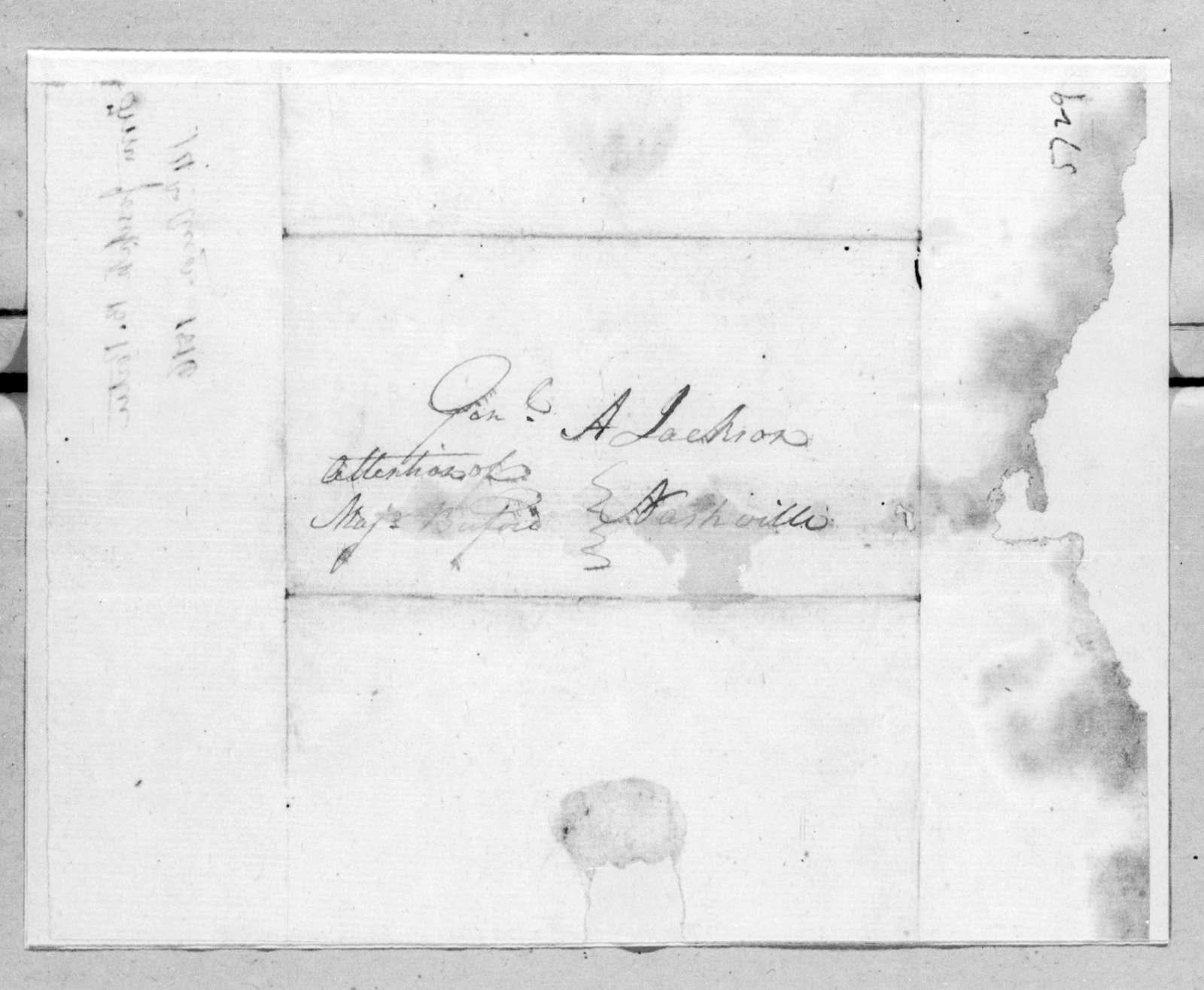 Joseph B. Porter to Andrew Jackson, August 14, 1816