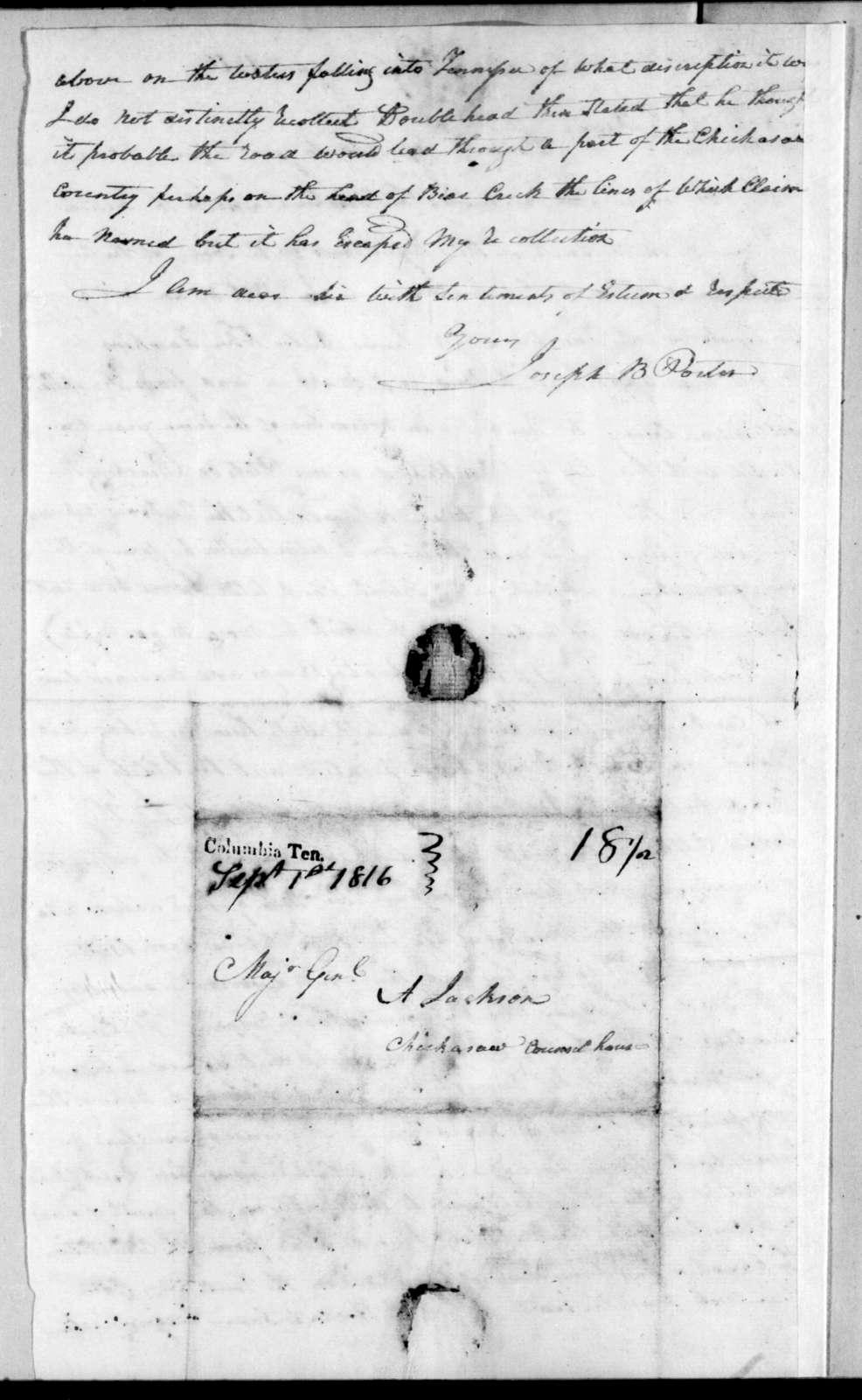Joseph B. Porter to Andrew Jackson, August 22, 1816