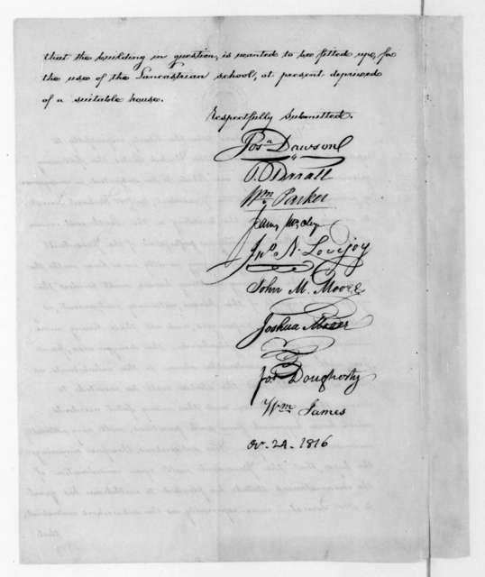 Joseph Dawson to James Madison, October 24, 1816.