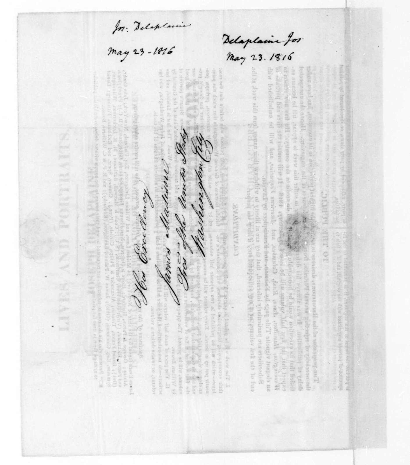 Joseph Delaplaine to James Madison, May 23, 1816. With printed proposal.