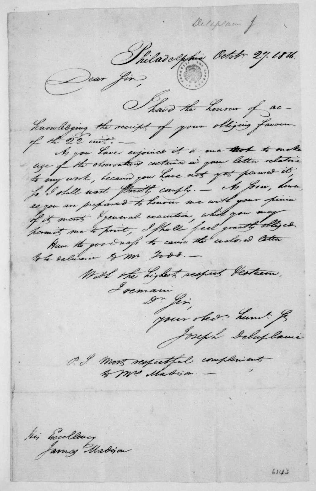 Joseph Delaplaine to James Madison, October 27, 1816.