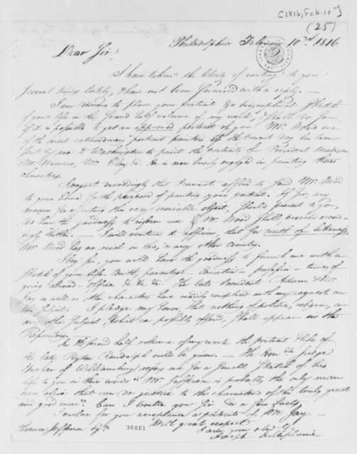 Joseph Delaplaine to Thomas Jefferson, February 10, 1816