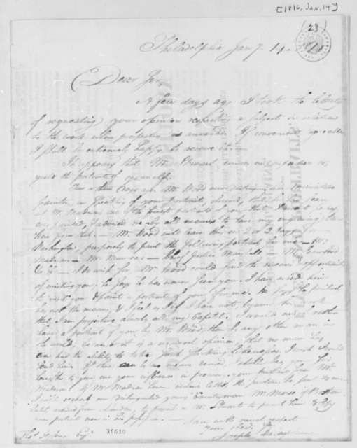 Joseph Delaplaine to Thomas Jefferson, January 14, 1816, Written on Broadside