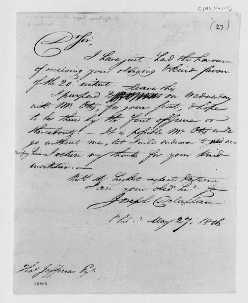 Joseph Delaplaine to Thomas Jefferson, May 27, 1816