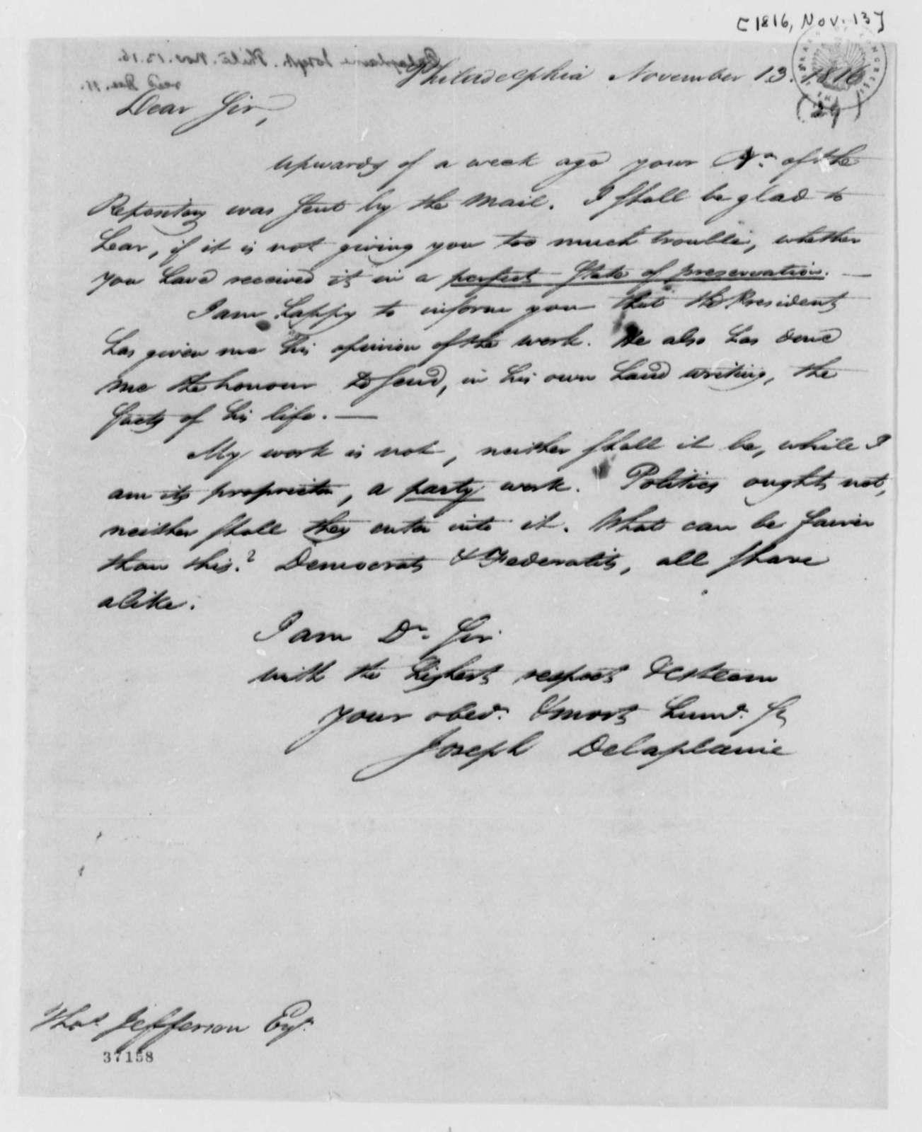 Joseph Delaplaine to Thomas Jefferson, November 13, 1816