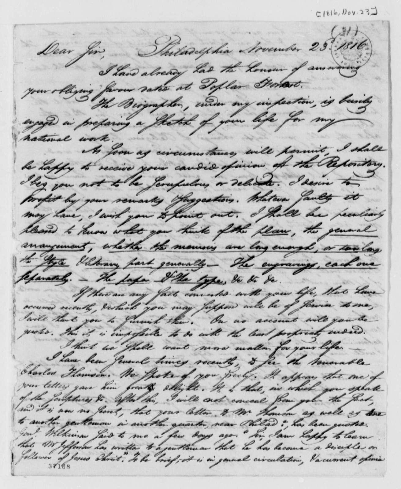 Joseph Delaplaine to Thomas Jefferson, November 23, 1816