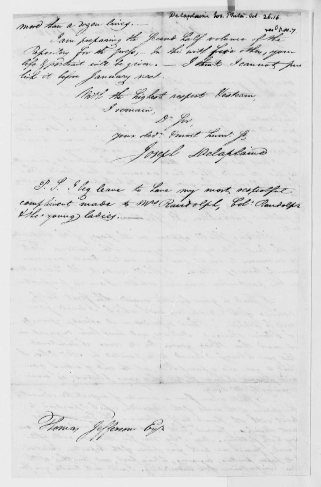 Joseph Delaplaine to Thomas Jefferson, October 26, 1816