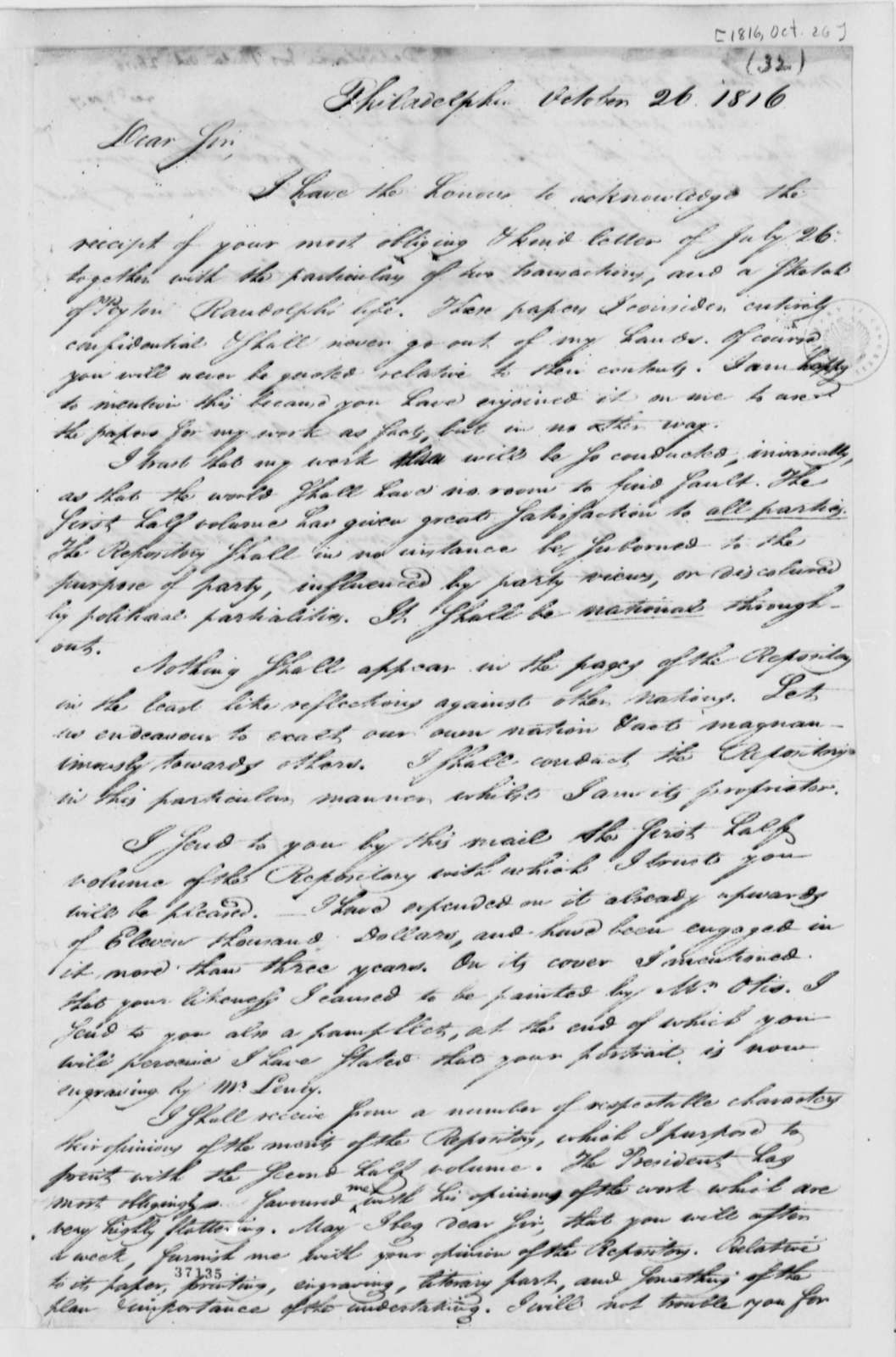 Joseph Delaplaine to Thomas Jefferson, October 26, 1816