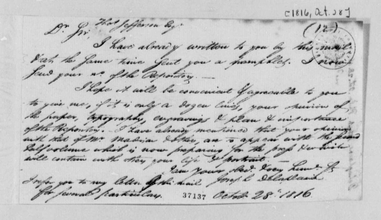 Joseph Delaplaine to Thomas Jefferson, October 28, 1816