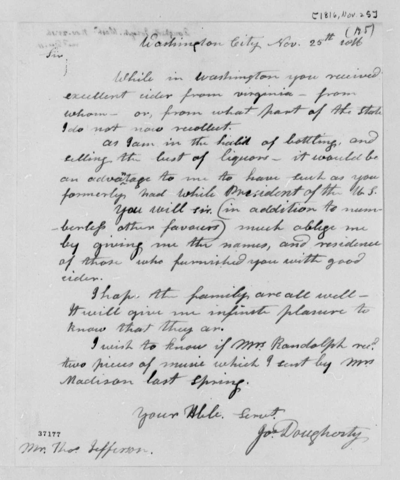 Joseph Dougherty to Thomas Jefferson, November 25, 1816