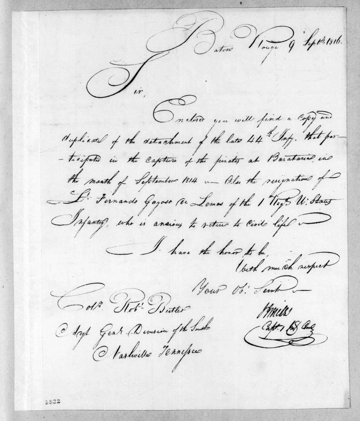 Joseph J. Miles to Robert Butler, September 9, 1816