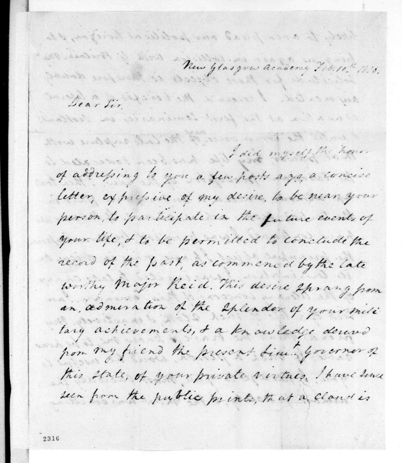 Joseph Jones Monroe to Andrew Jackson, February 10, 1816