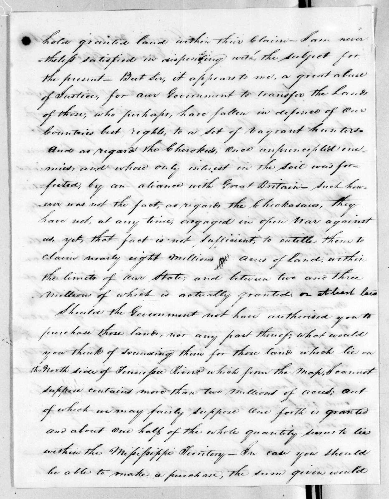 Joseph McMinn to Andrew Jackson, August 30, 1816
