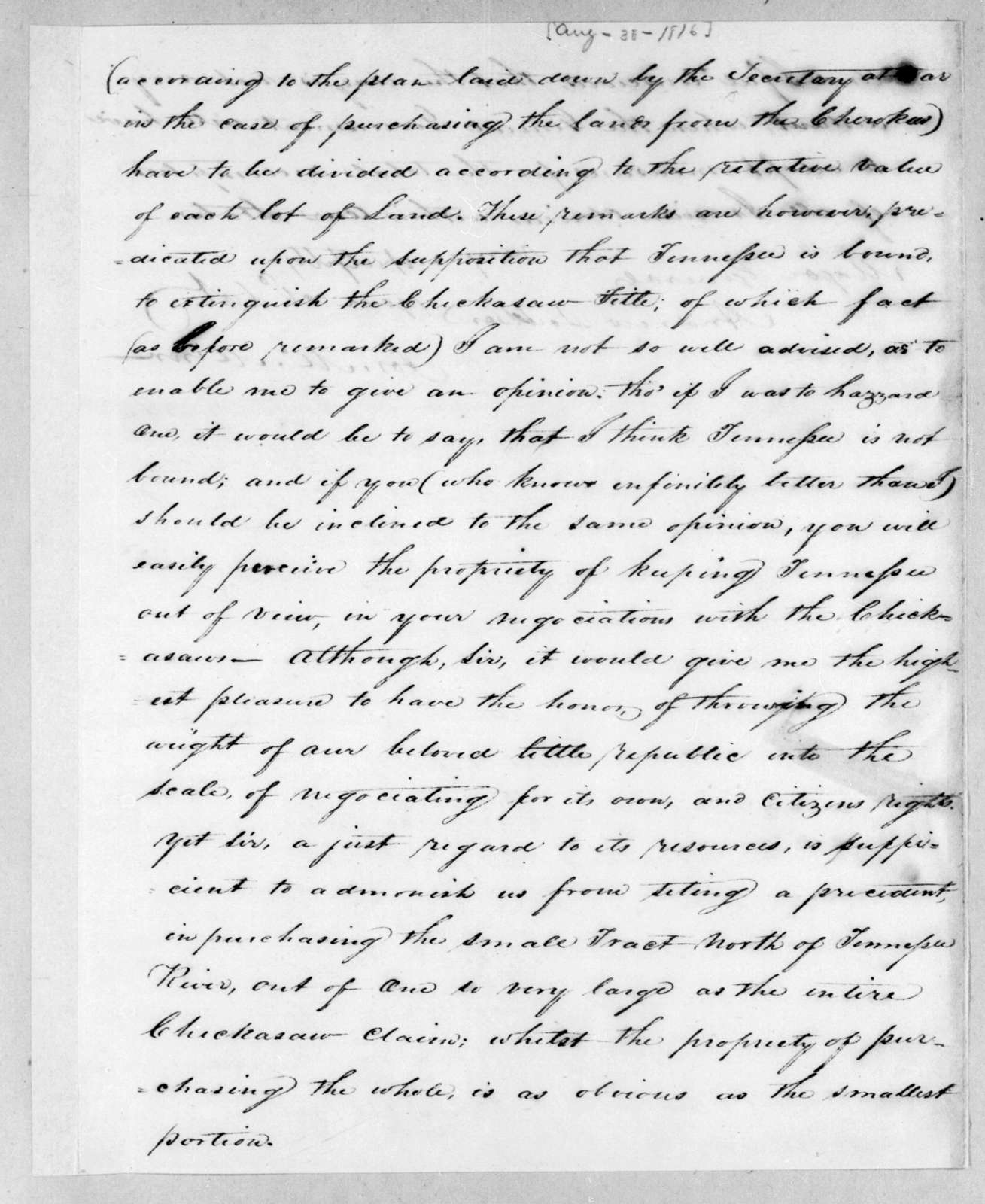 Joseph McMinn to Andrew Jackson, August 30, 1816