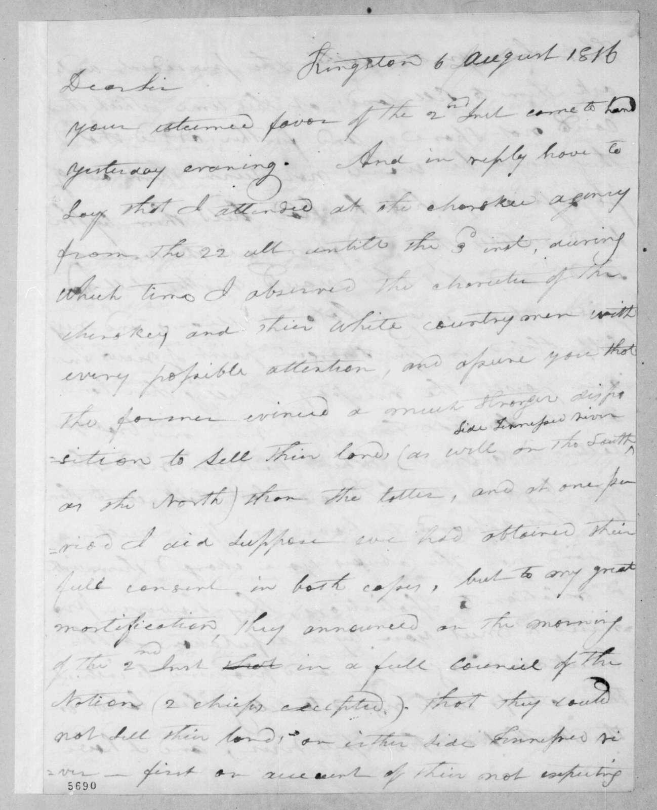 Joseph McMinn to Andrew Jackson, August 6, 1816