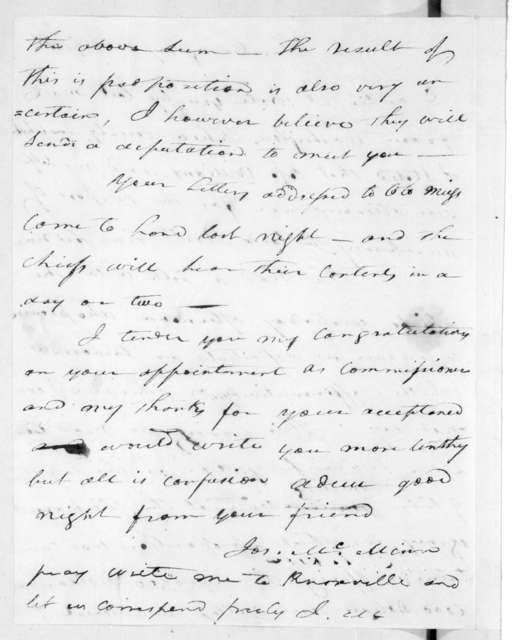 Joseph McMinn to Andrew Jackson, July 30, 1816