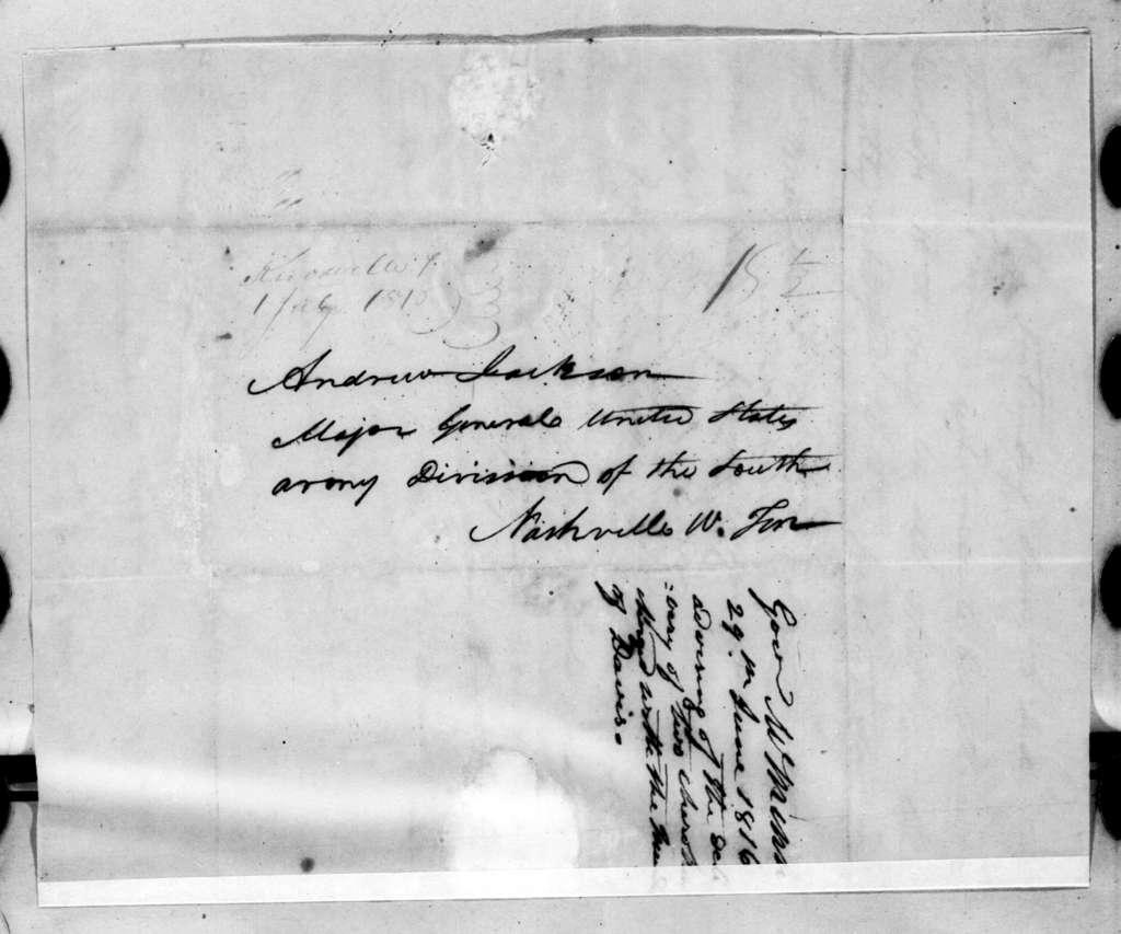 Joseph McMinn to Andrew Jackson, June 29, 1816