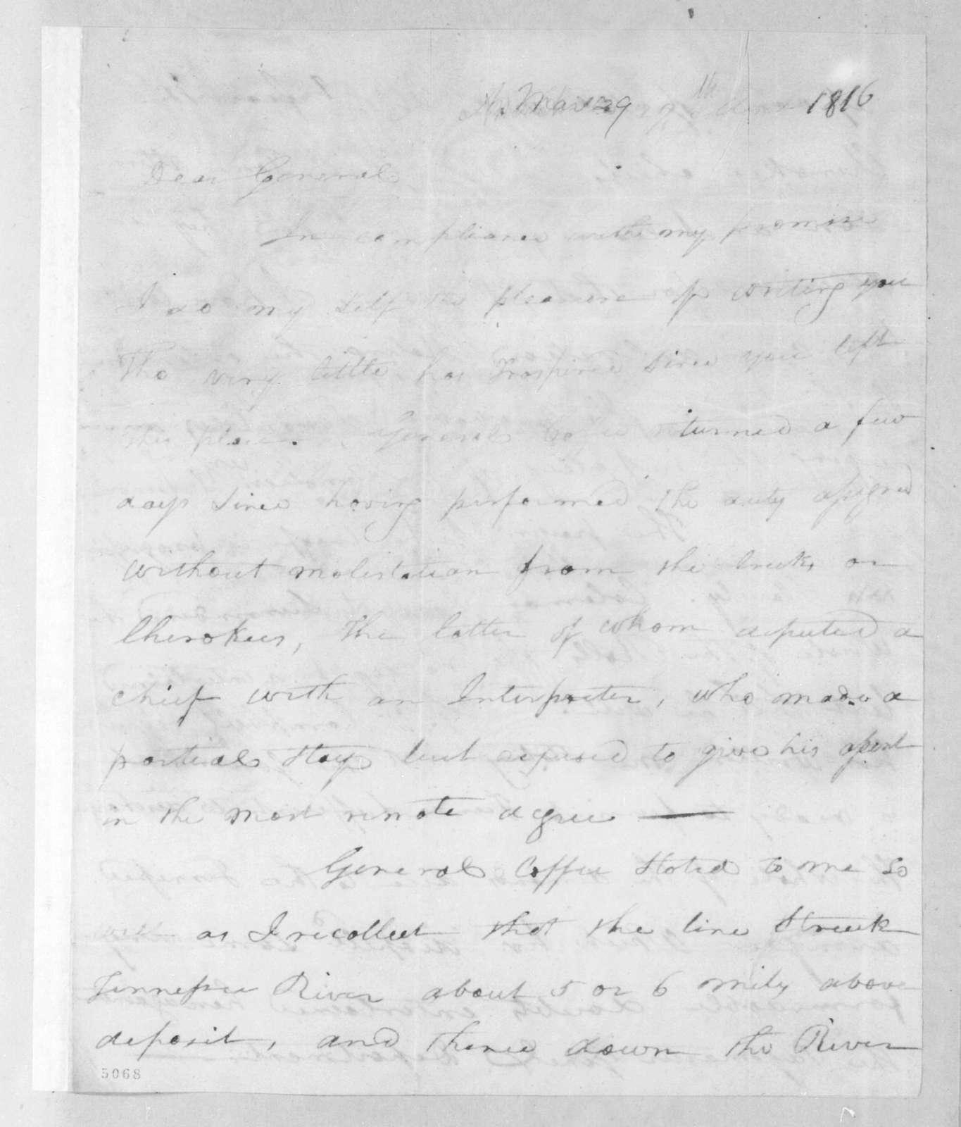 Joseph McMinn to Andrew Jackson, March 29, 1816