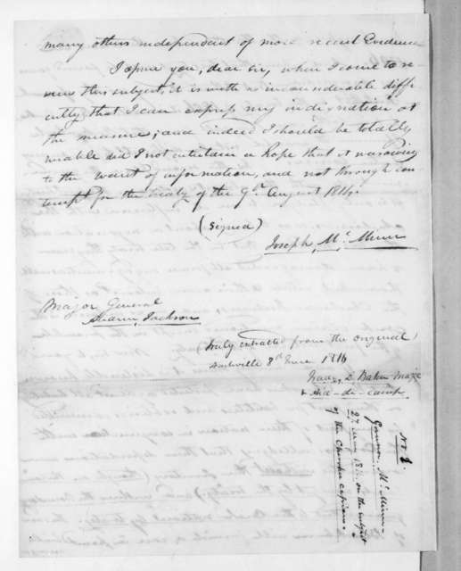 Joseph McMinn to Andrew Jackson, May 27, 1816