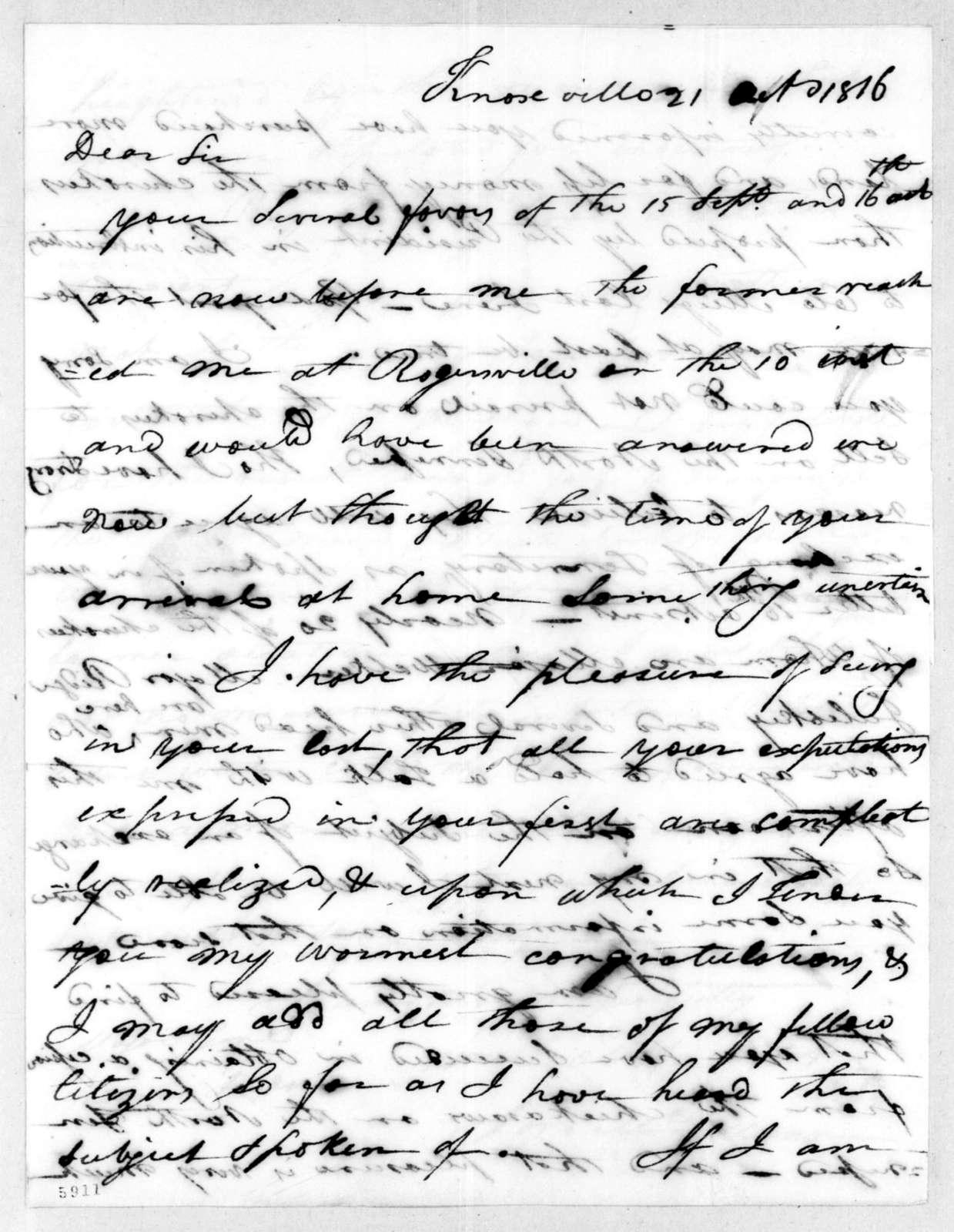 Joseph McMinn to Andrew Jackson, October 21, 1816