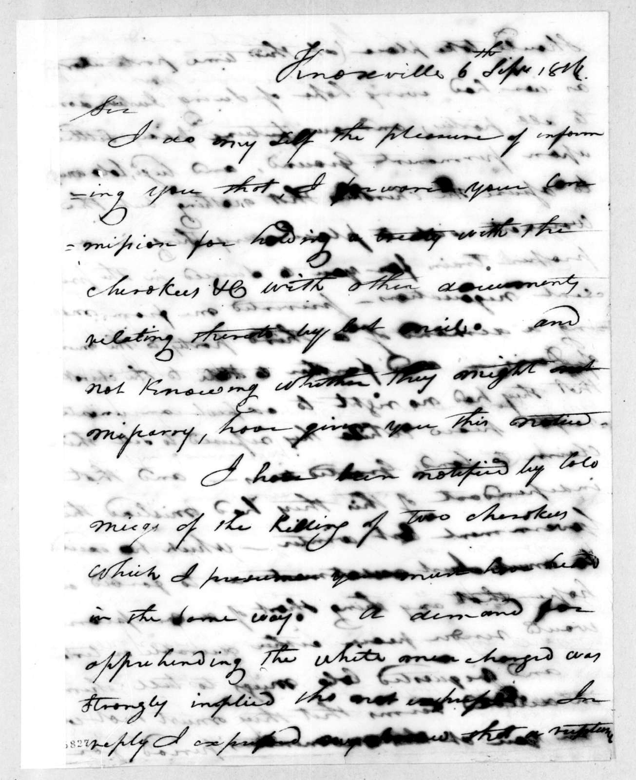 Joseph McMinn to Andrew Jackson, September 6, 1816