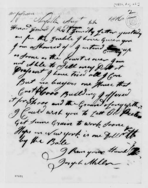 Joseph Miller to Thomas Jefferson, August 22, 1816