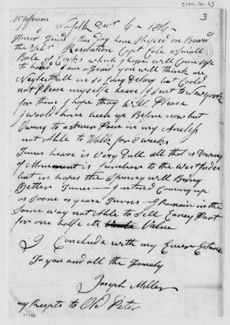 Joseph Miller to Thomas Jefferson, December 6, 1816