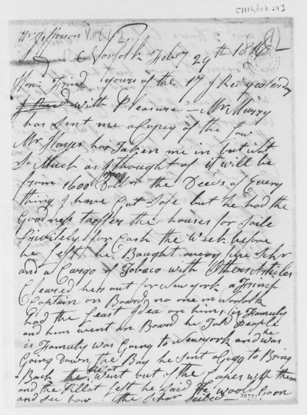 Joseph Miller to Thomas Jefferson, February 29, 1816