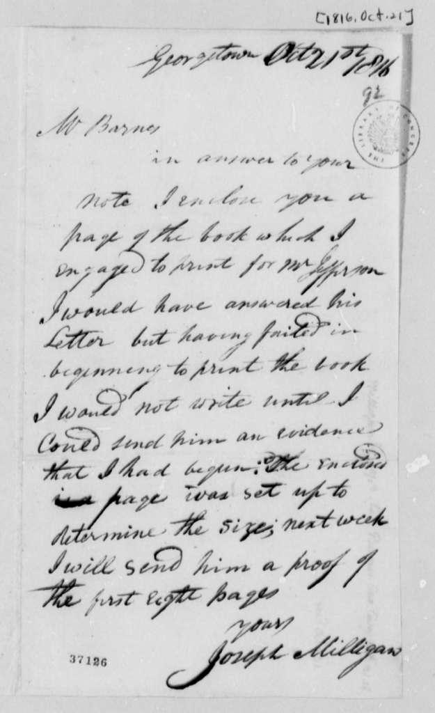 Joseph Milligan to John S. Barnes, October 21, 1816