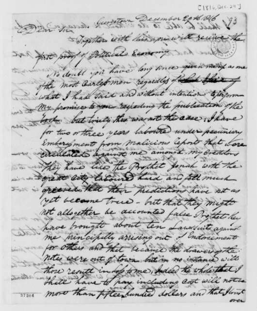 Joseph Milligan to Thomas Jefferson, December 29, 1816