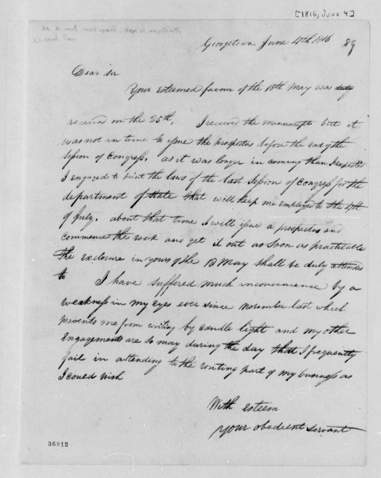 Joseph Milligan to Thomas Jefferson, June 4, 1816
