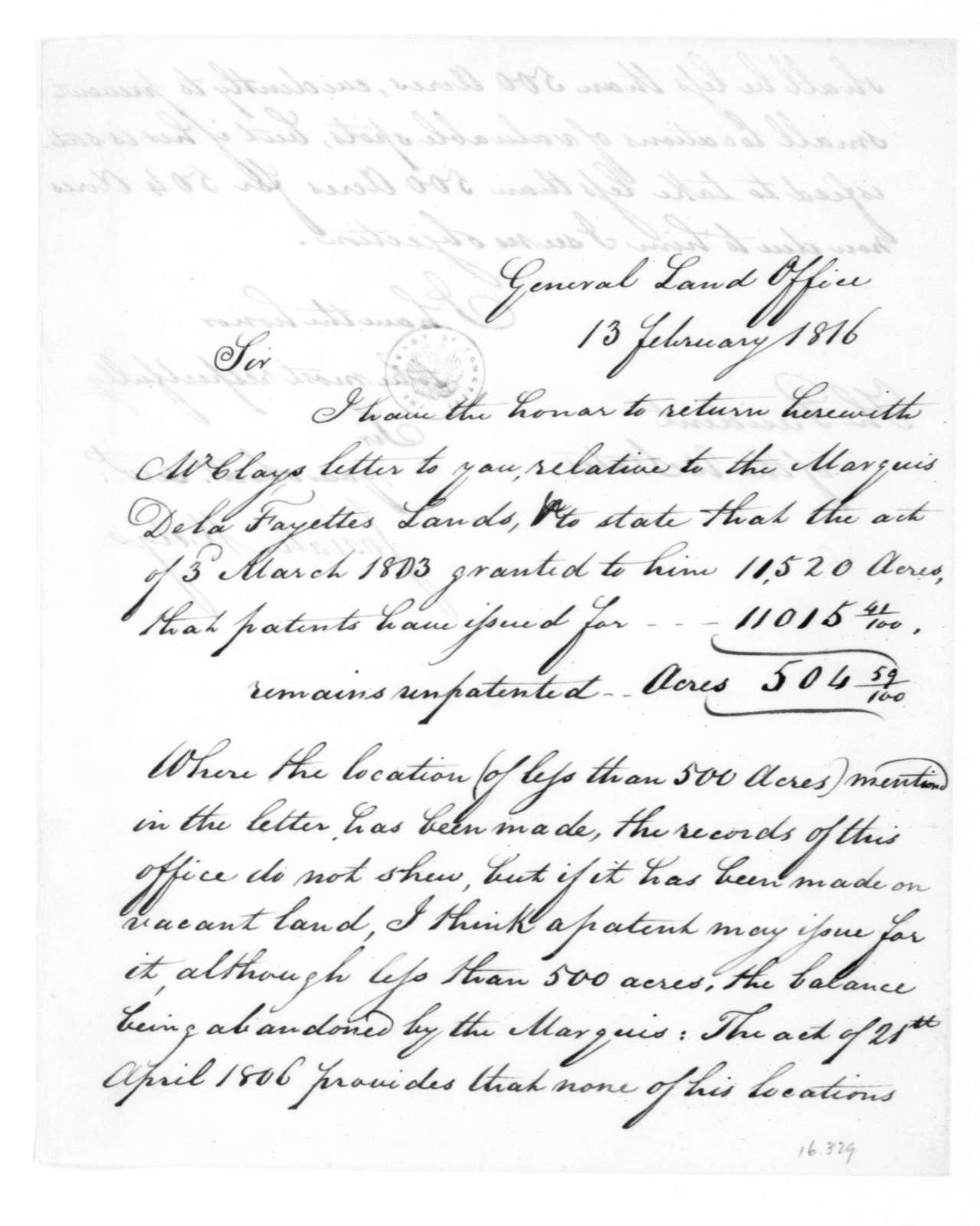Josiah Meigs to James Madison, February 13, 1816.