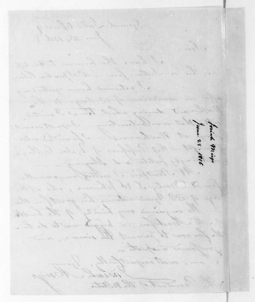 Josiah Meigs to James Madison, June 25, 1816.