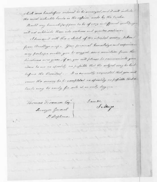 Josiah Meigs to Thomas Freeman, May 15, 1816.