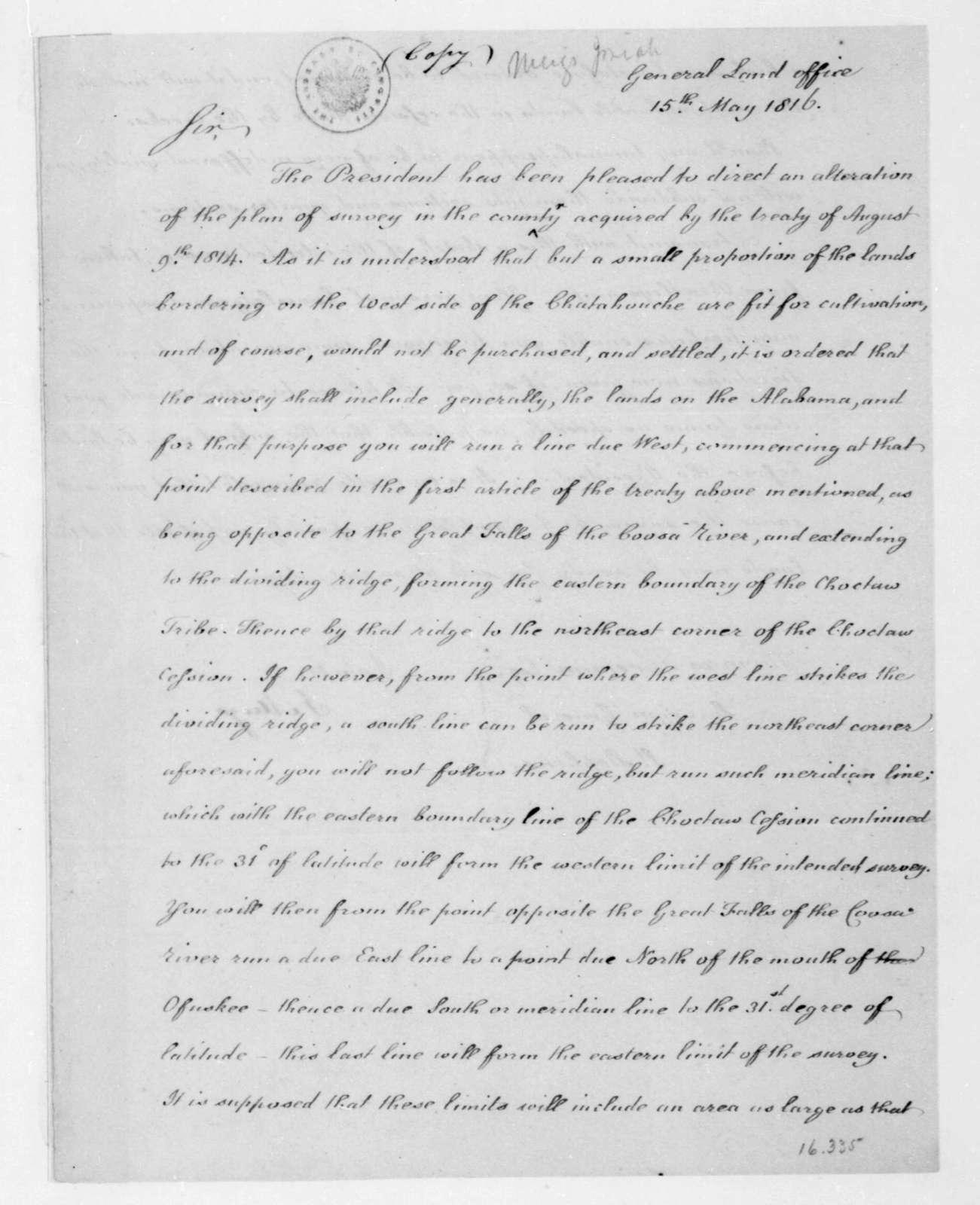 Josiah Meigs to Thomas Freeman, May 15, 1816.
