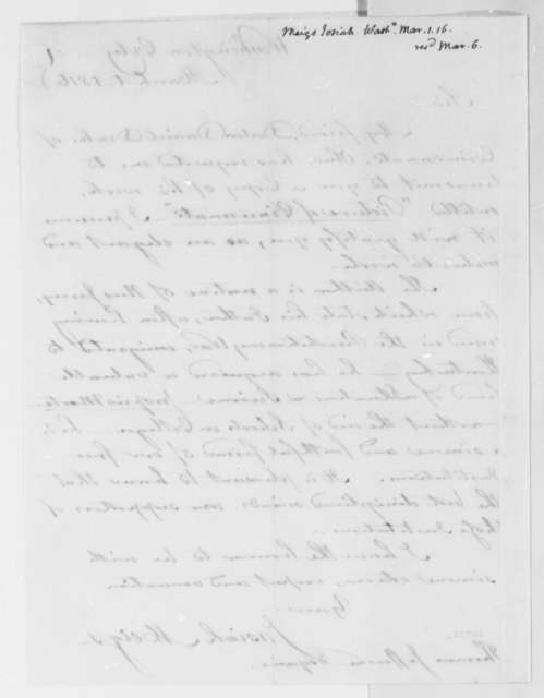 Josiah Meigs to Thomas Jefferson, March 1, 1816