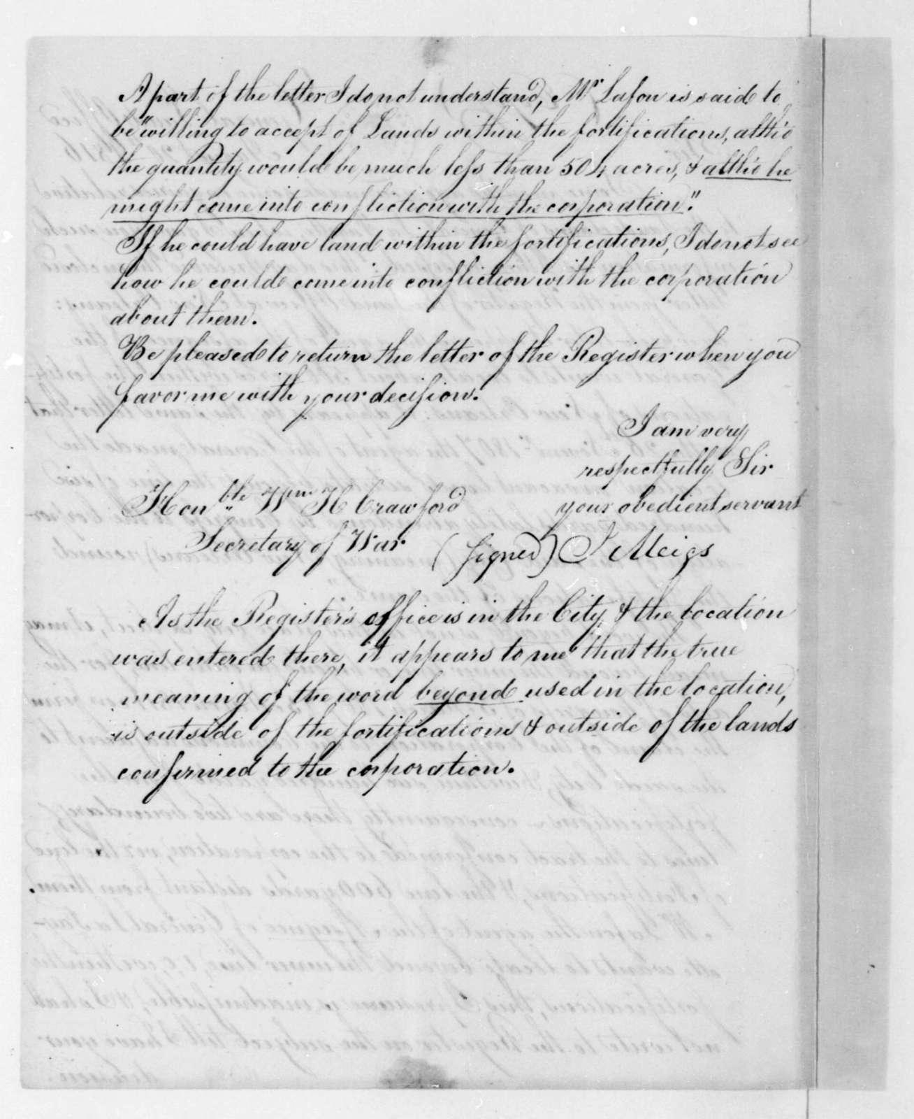 Josiah Meigs to William H. Crawford, August 20, 1816.