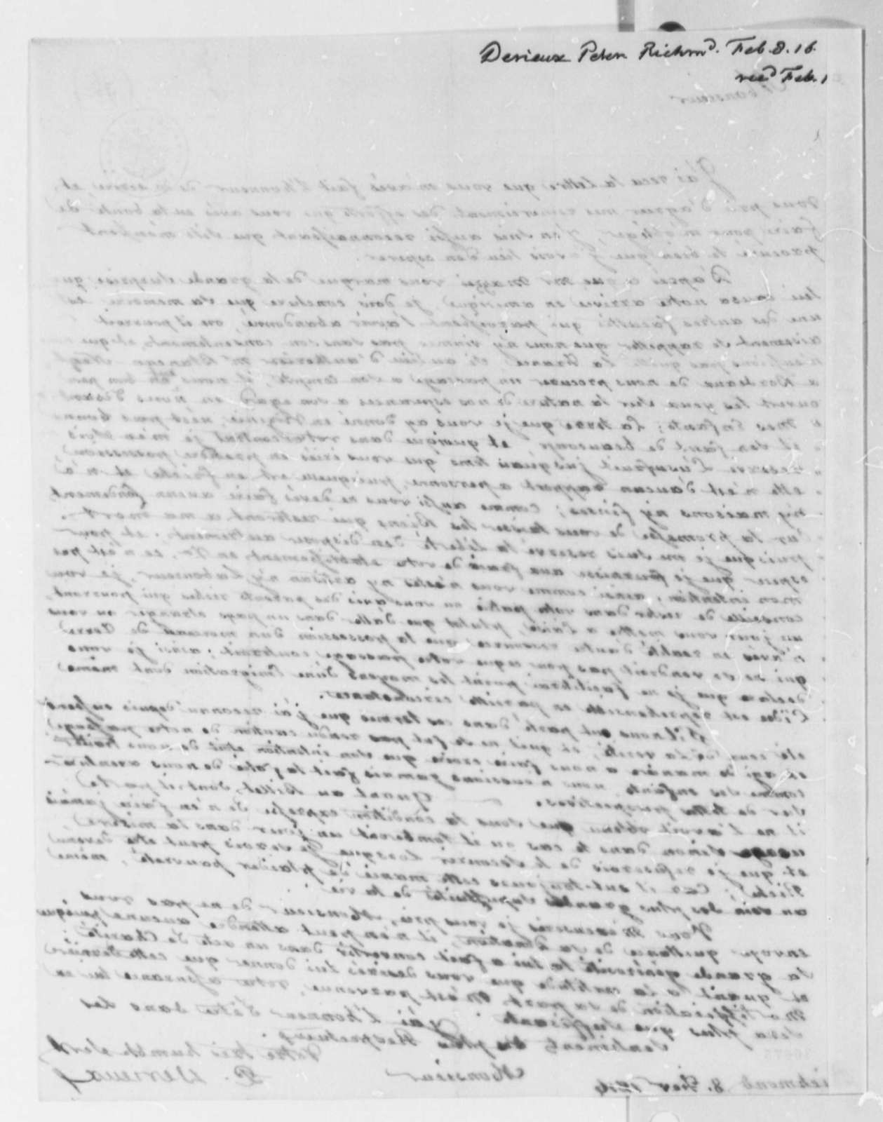 Justin Pierre Plumard Derieux to Thomas Jefferson, February 8, 1816, in French