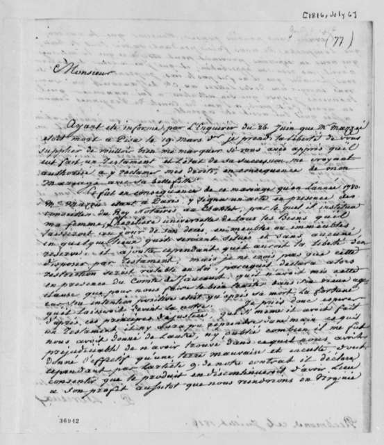 Justin Pierre Plumard Derieux to Thomas Jefferson, July 6, 1816, in French