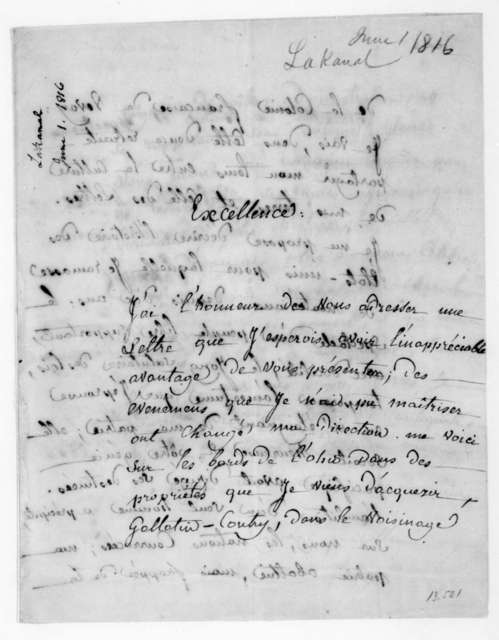 Lakanal to James Madison, June 1, 1816. In French.