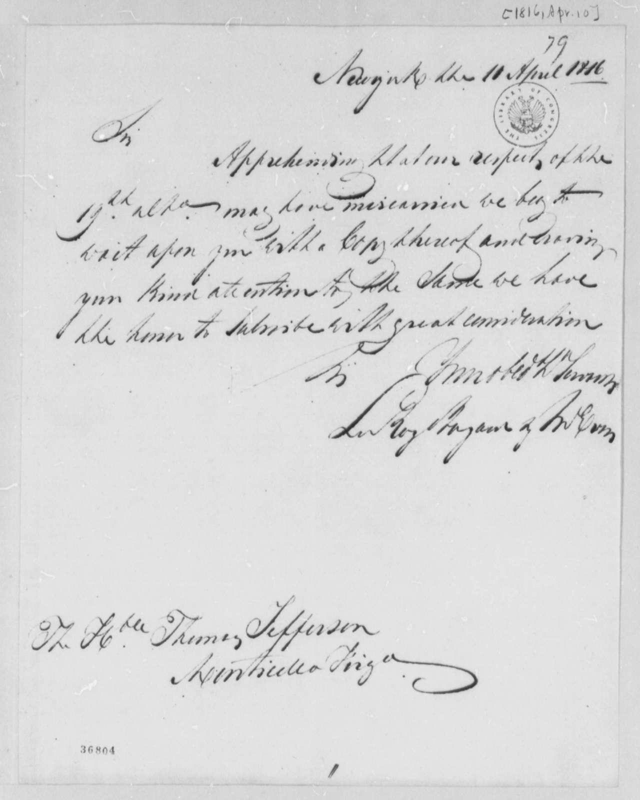 Leroy-Bayard & McCorn to Thomas Jefferson, April 10, 1816