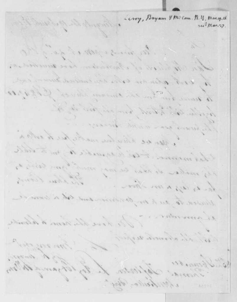 Leroy-Bayard & McCorn to Thomas Jefferson, March 19, 1816, with Copy