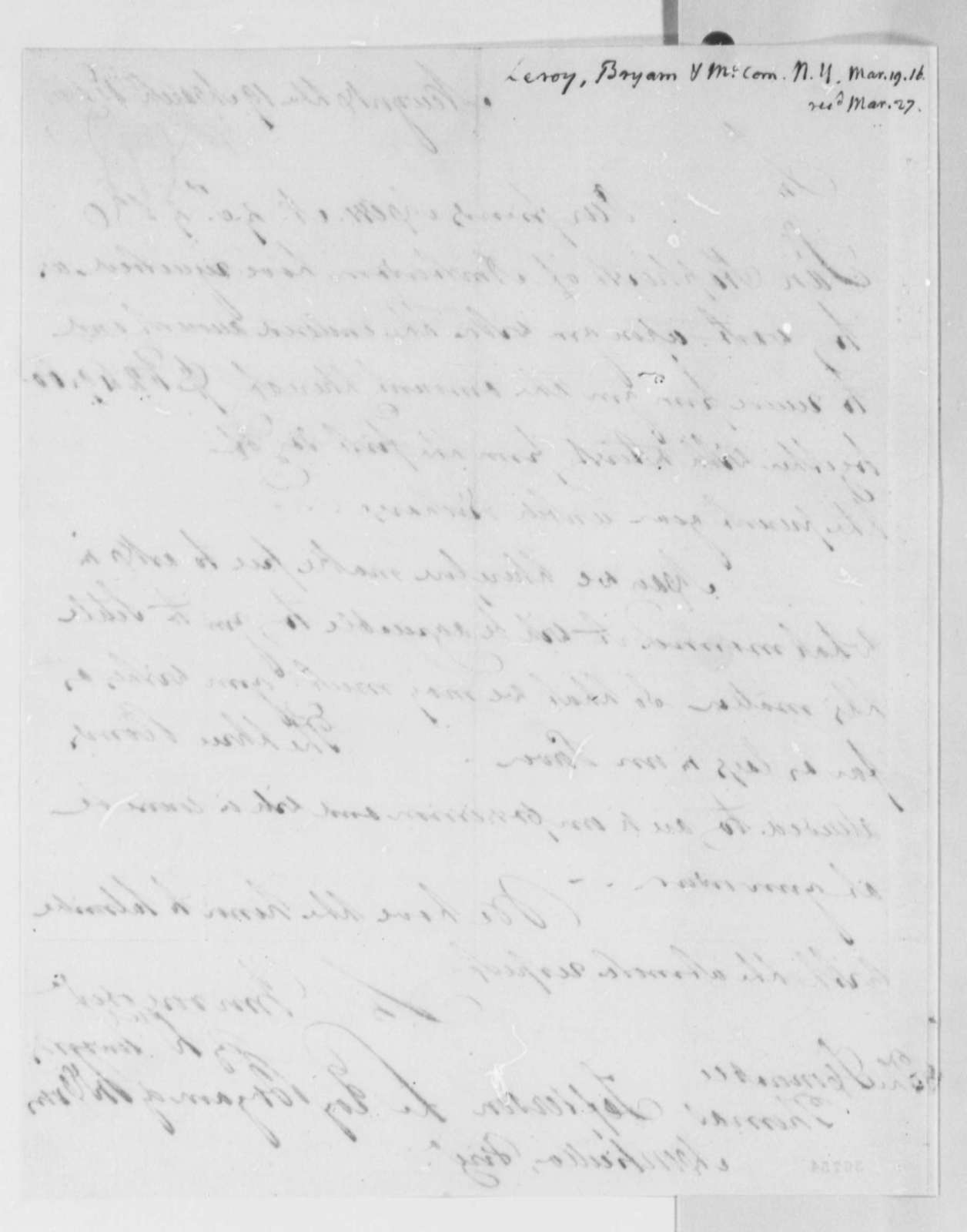 Leroy-Bayard & McCorn to Thomas Jefferson, March 19, 1816, with Copy