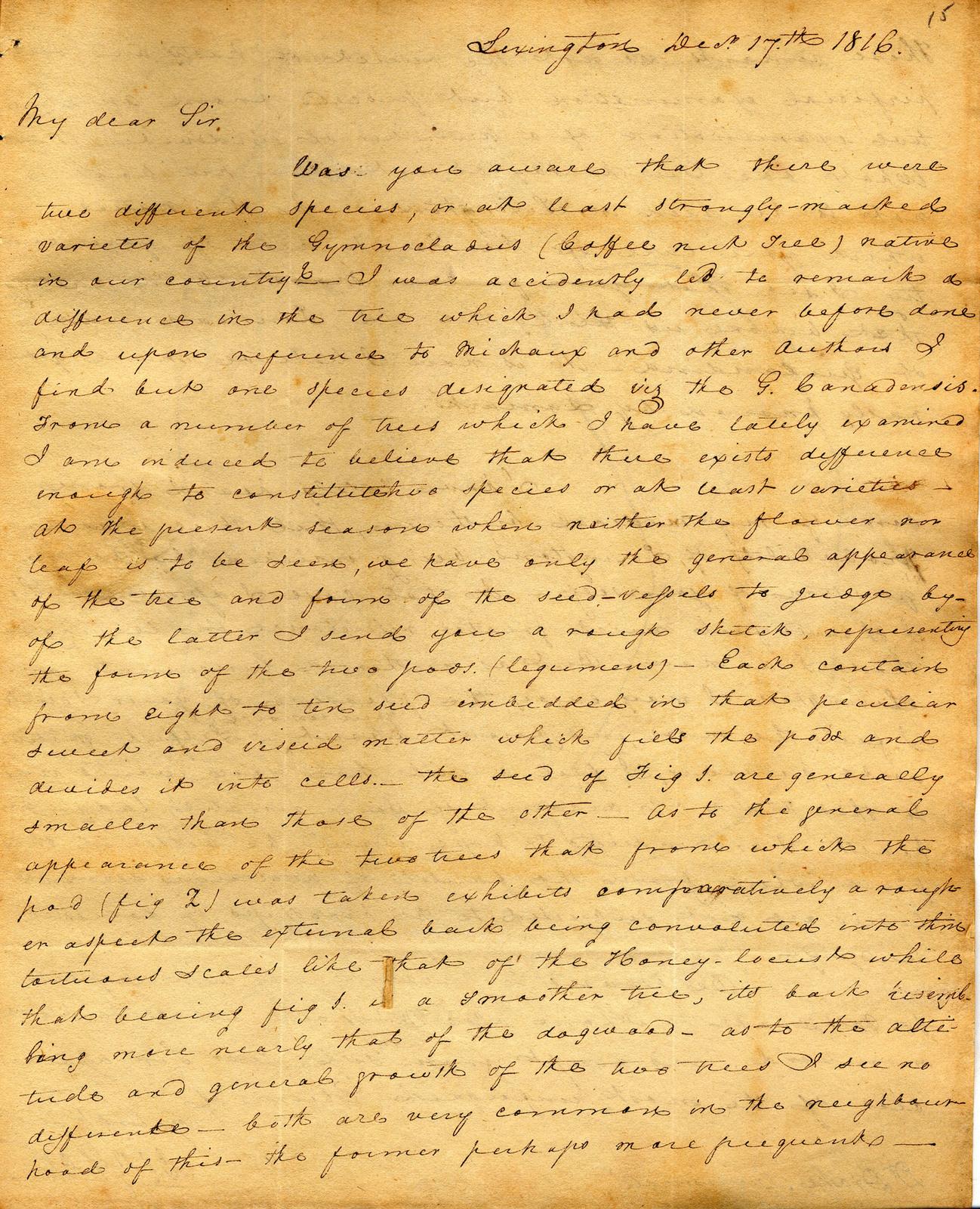 Letter from Charles Wilkins Short to Daniel Drake