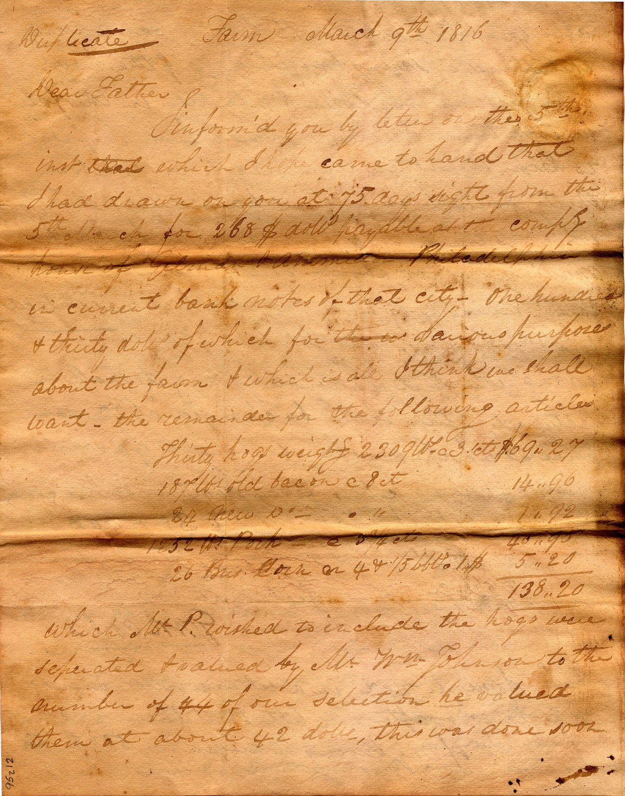 Letter from George Corlis to John Corlis