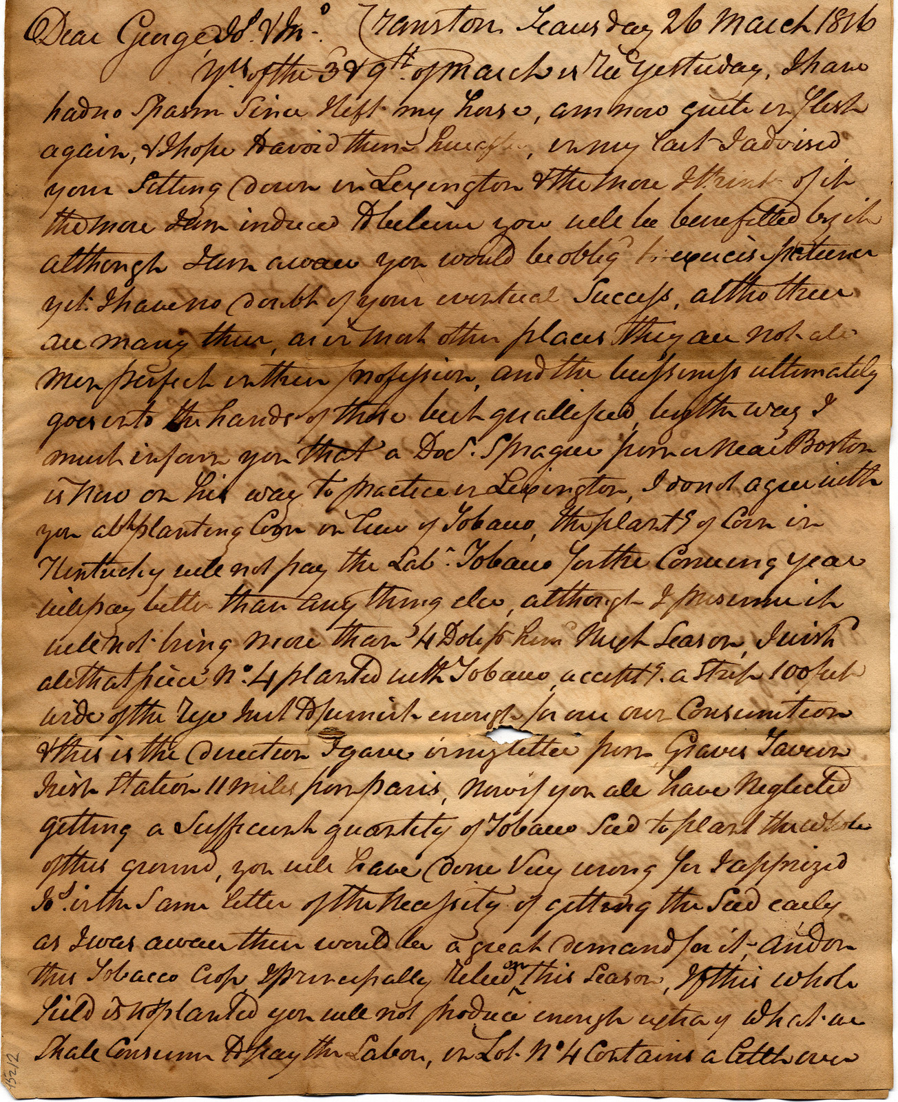 Letter from John Corlis to George, Mary Ann and Joseph Corlis