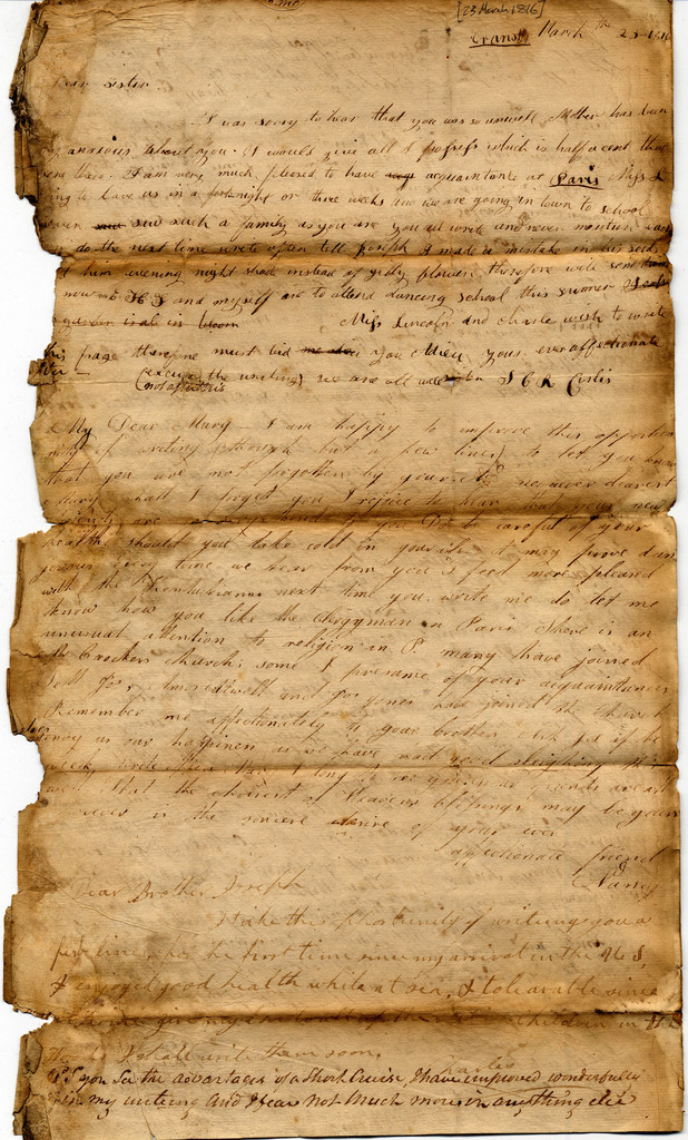 Letter from Nancy and John Corlis to Mary Ann and Joseph Corlis