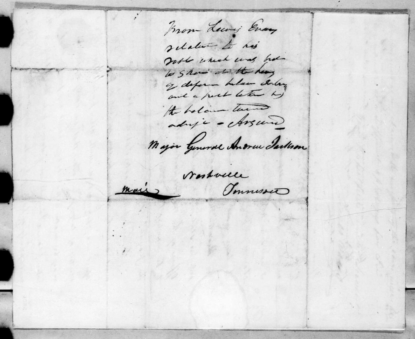 Lewis Evans to Andrew Jackson, September 3, 1816